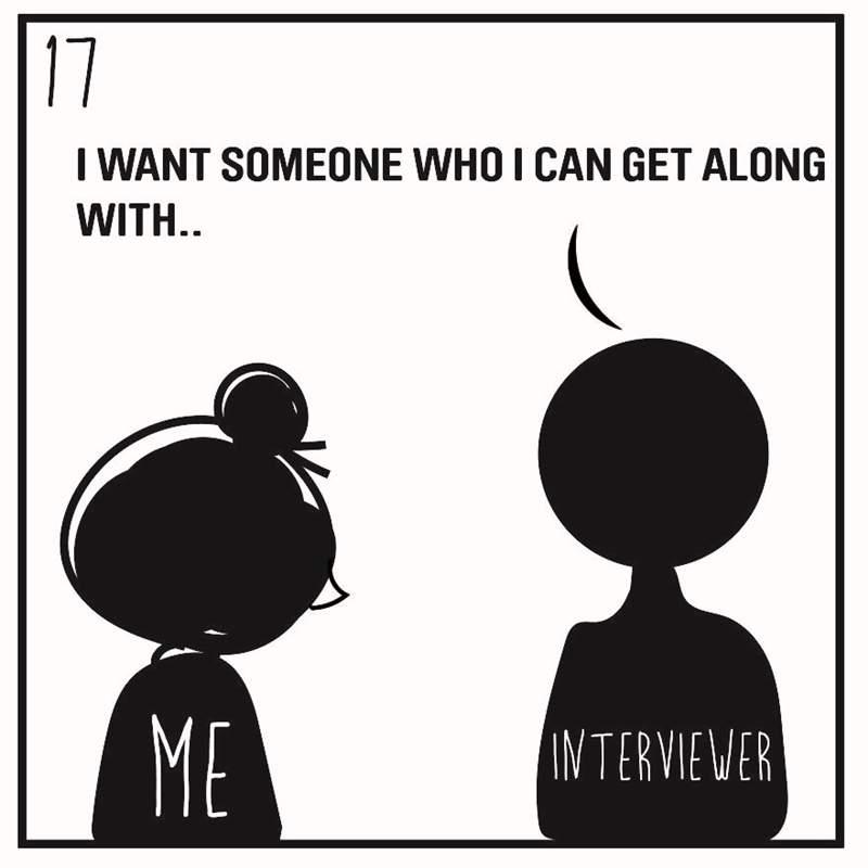 藝術家畫出8個「面試時被問過」的最奇葩問題 老闆問「妳有男友嗎」到底該怎麽回答?