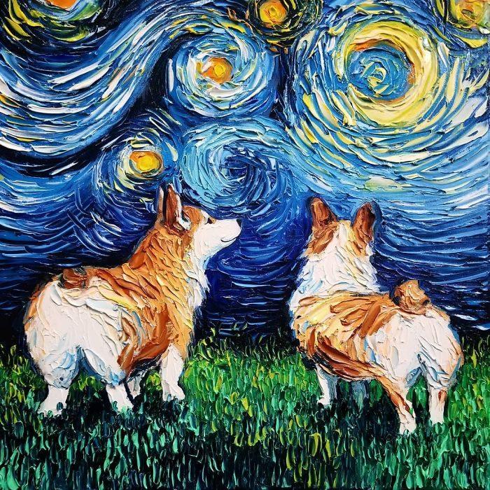 狗狗闖入了梵谷《星夜》!她是被以為是梵谷的畫家 創作「狗狗星空」讓你看著就被療癒了