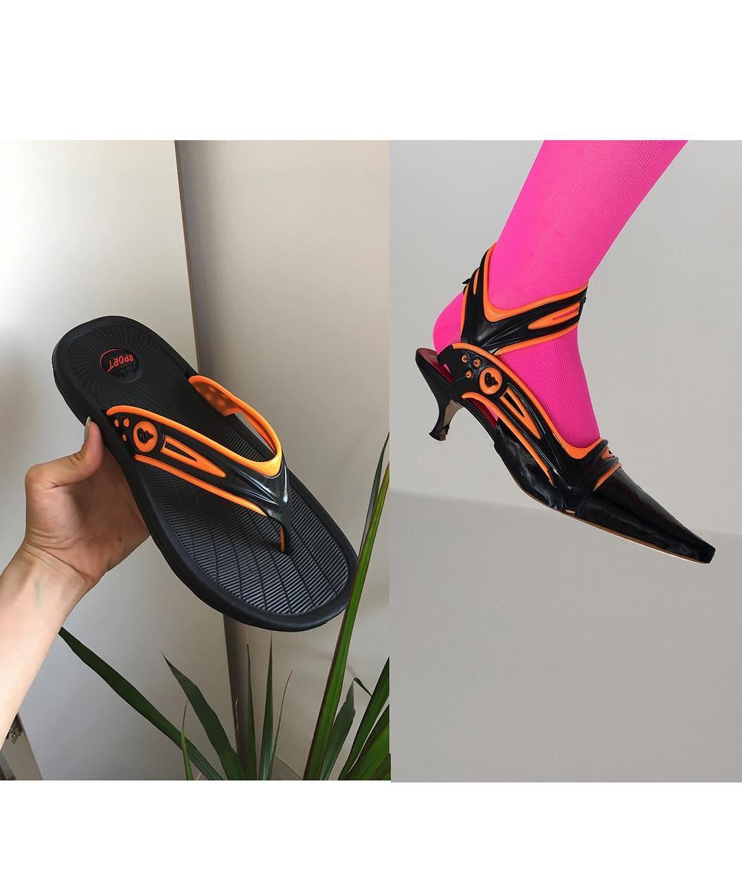 她把二手球鞋改造成「運動風高跟鞋」 連「阿伯拖鞋」都變成超科技時尚感!