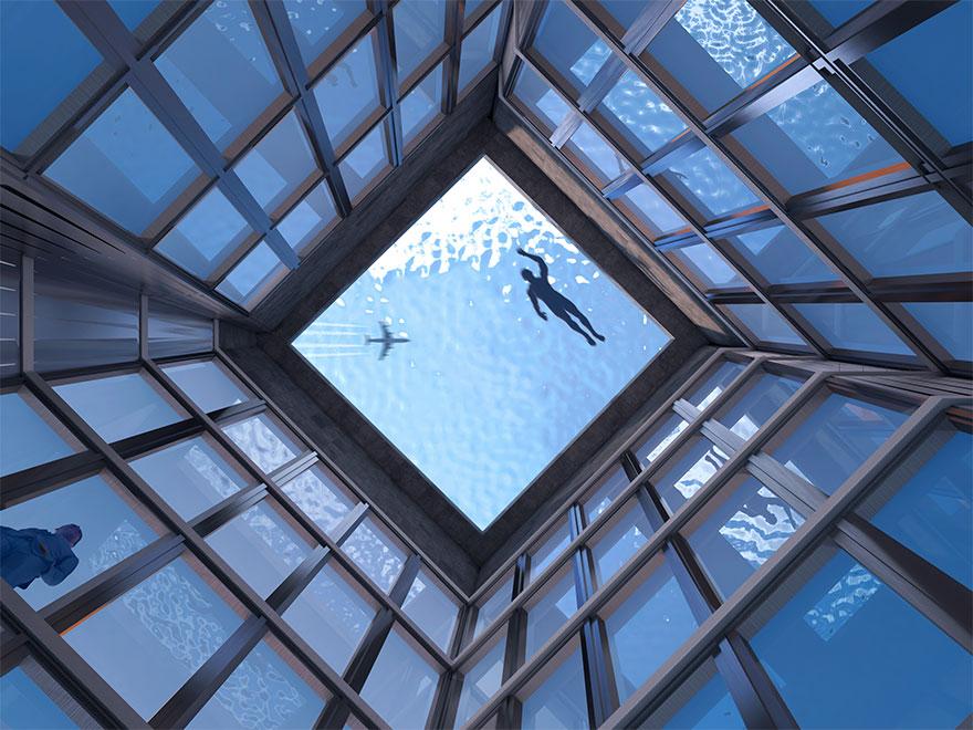 世界首例!國外推「360度」游泳池 超豪華配置卻有「小缺點」網:我不敢往上看…