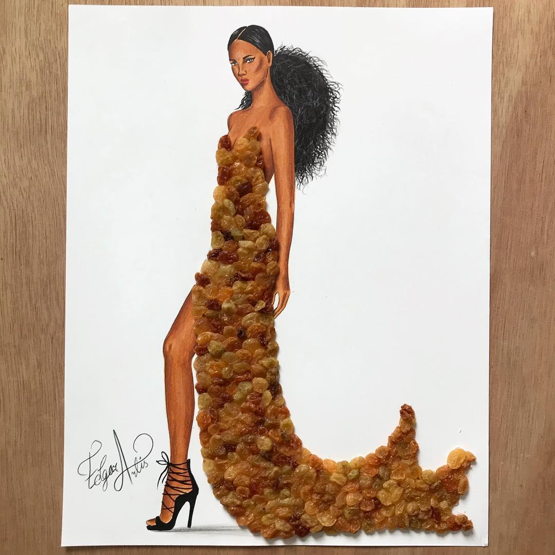 藝術家用「食物」創作超強時尚人物照 不小心「打翻優格」竟變超夢幻晚禮服!
