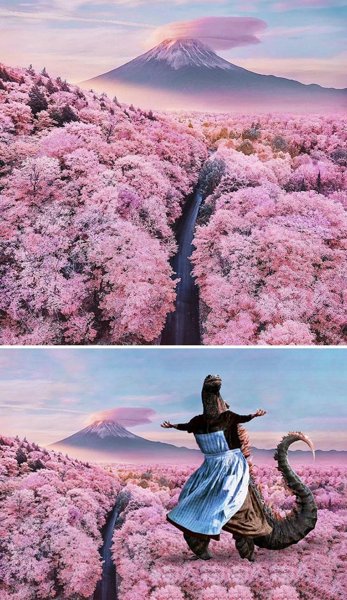 20張「差點騙了全世界」的驚人PS照片 櫻花樹上竟然出現哥吉拉!