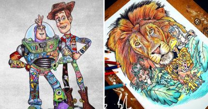 23張卡通人物「全身紋好紋滿」的有趣插畫 史迪奇從耳朵到腳都是亮點!