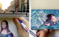 他用普通的「3色原子筆」畫出超高清驚人作品 網看傻眼:以為是照片!