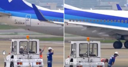 影/老外搭機見「地勤對飛機鞠躬揮手」超疑惑 15秒影片曝光引討論:在祝我一路好走?
