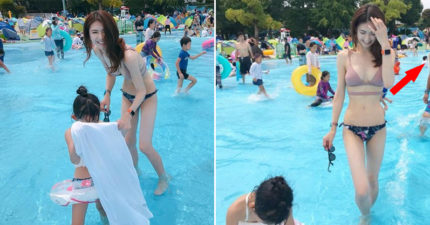 他拍下「長腿辣媽陪女兒玩水」的心動畫面 下秒亂入大叔「超誠實視線」網笑翻:真男人!