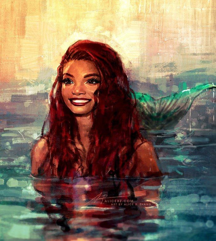 《小美人魚》選角還在戰!藝術家用「絕美作品」打臉酸民:黑美人魚其實「完全不輸原作」