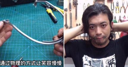 影/發明王推出「笑容輔助器」 他示範如何「拉開友善嘴角」被讚爆:臭臉的救星!