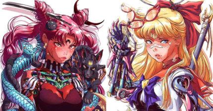 他把《美少女戰士》全體「鋼鐵人化」 月野兔變身「機械厭世妹」超殺眼神美出新高度!