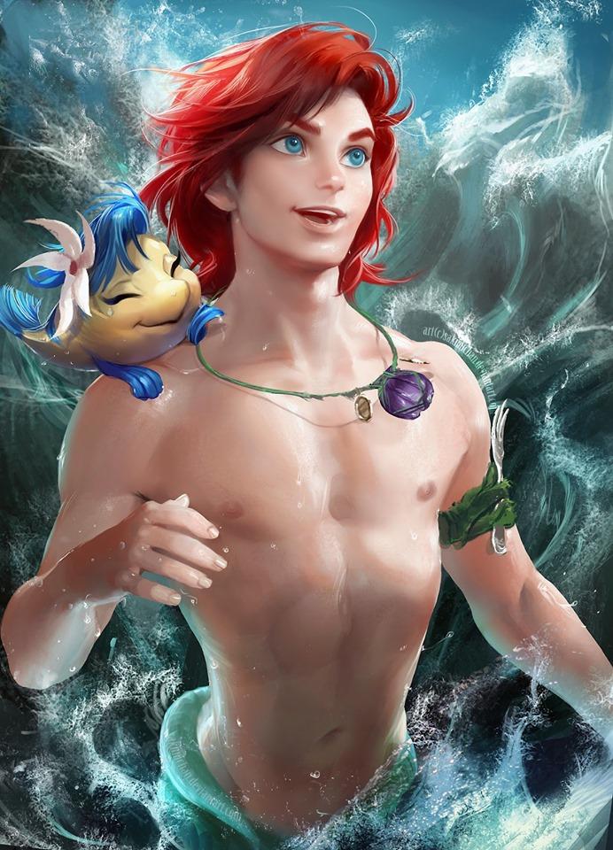 新系列「迪士尼角色性轉」 小美人魚變猛男...「帥哥與野獸」意外超適合!