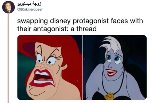 14張迪士尼主角「和反派角色換臉」的超衝擊照片 白雪公主「變壞皇后」怎麽有點眼熟?