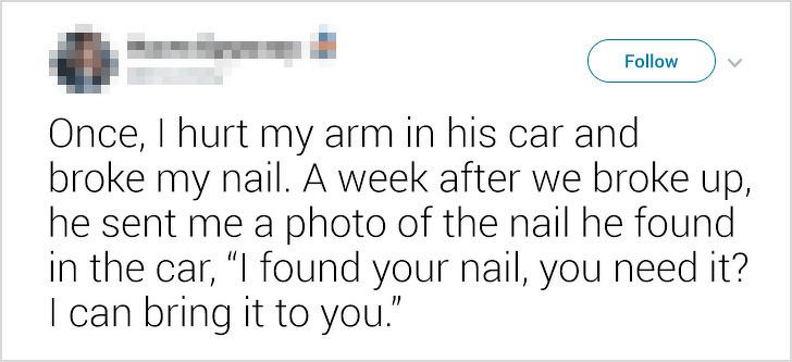 23個崩潰網友分享的「超瞎前任故事」!找到前女友斷的指甲:要還妳嗎?