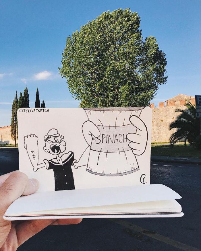 20個「經典卡通亂入」的爆笑景點照 比薩斜塔直接變成「無限手套」!