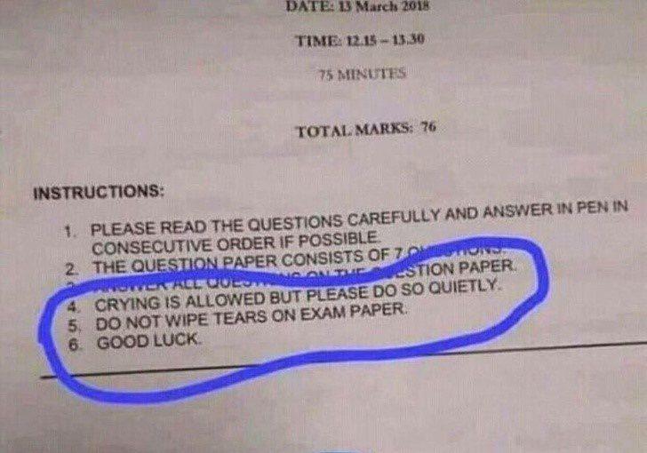 20張證明「當學生根本不好混」的超中肯照片 考試難到「想測脈搏」大家都有過!