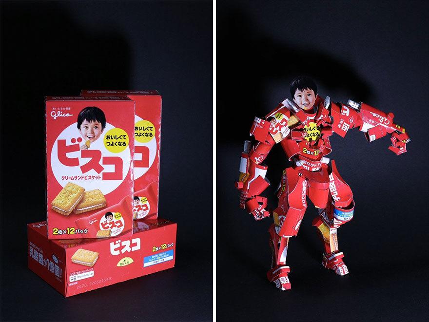 神人把「商品包裝→超美模型」網路爆紅!速食麵秒變「日本武士」超霸氣~