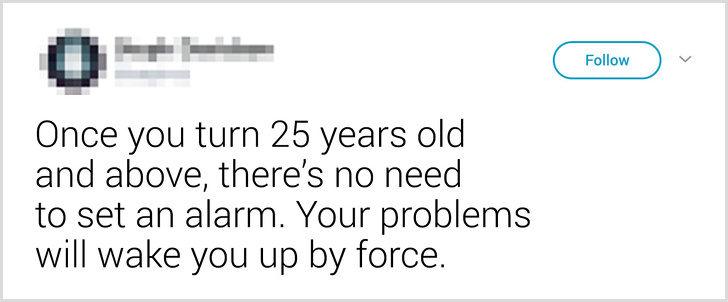 15則「讓你笑到哭出來」的超狂推文 過25歲不用設鬧鐘...「煩惱會叫你起床!」