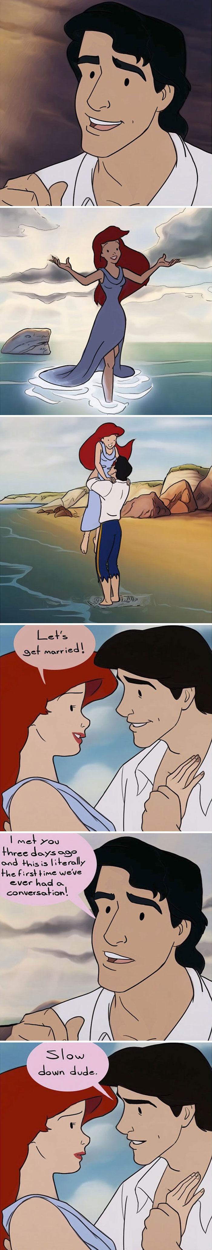 30張「把童話濾鏡拿掉」的迪士尼作品 小美人魚說「我們結婚吧」王子:但我們才見過3次?