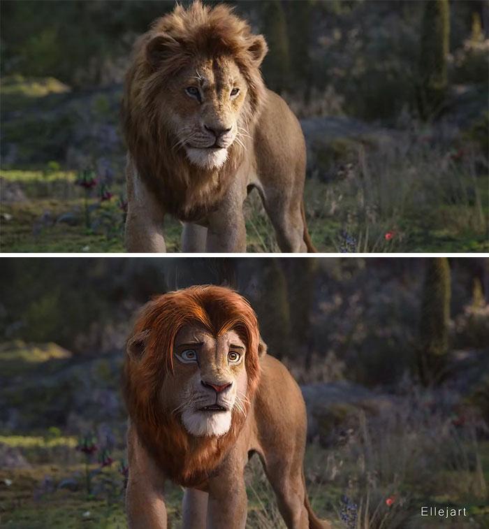 藝術家幫《獅子王》角色「改一點點」馬上超越迪士尼 「大眼版小辛巴」萌度更加倍!