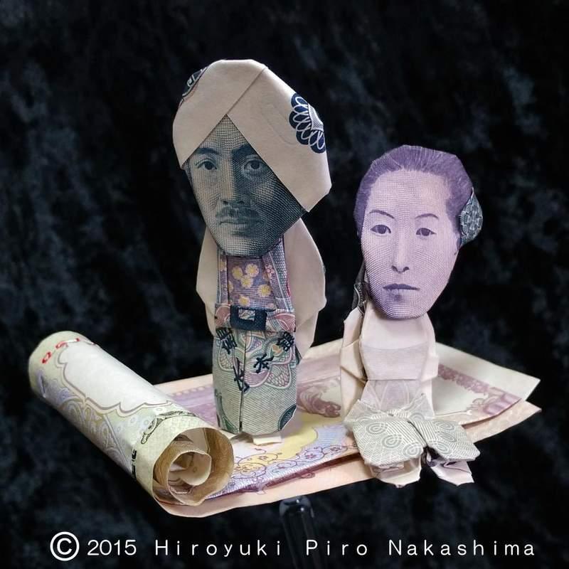 日瘋傳「用紙鈔摺出各種造型」神人作品 東方版「阿拉丁+茉莉公主」超精緻!