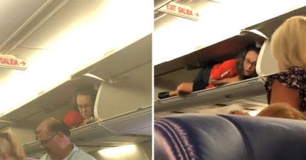 影/空姐「躺在行李架」小睡 乘客嚇壞「塞不進行李」她笑翻:是小驚喜啦!