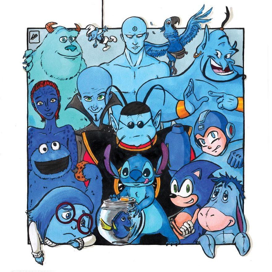 藝術家把人氣電影角色「按顏色分類」!黑隊「全都是BOSS」、藍隊的角色你一定都認得