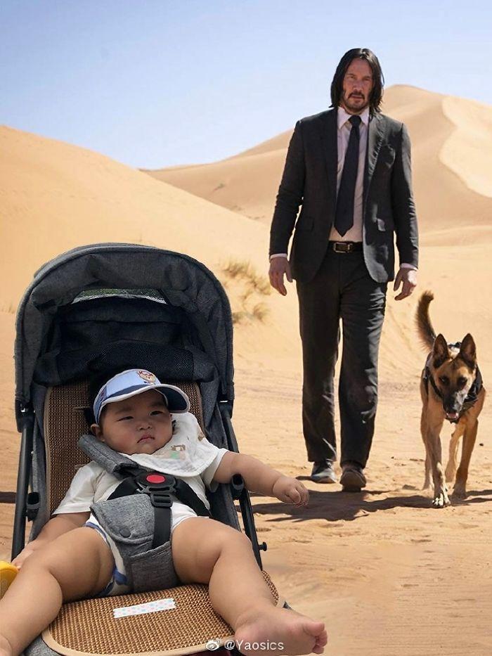 老爸失業兒子卻「吵著想旅行」!他用「超神P圖技巧」幫屁孩圓夢 網笑翻:兒子表情好僵硬