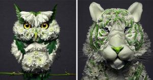 藝術家用鮮花「讓動物活起來」!彩色版的「小男孩摸狗狗」美得像畫