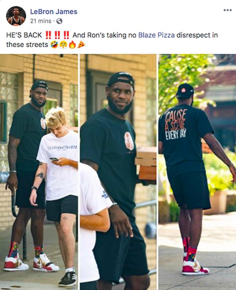 影/「NBA傳奇」詹皇外送披薩 主動示好卻被路人無視…尷尬表情被粉絲笑翻!