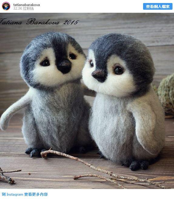 藝術家用「100%羊毛打造動物版公仔」爆紅 超Q「情侶版企鵝」讓網瞬間融化❤