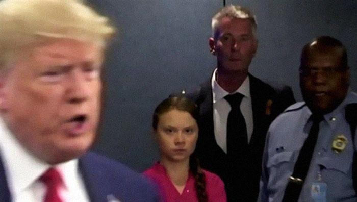 影/美國總統遭16歲環保妹「死亡狠瞪」 川普不甘回嗆:她看起來很快樂!