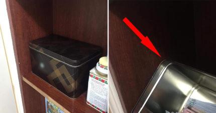 她在櫃子找到「蛋卷盒」想立馬開吃 掀開蓋子驚見「老公私人珍藏」傻眼:飽了