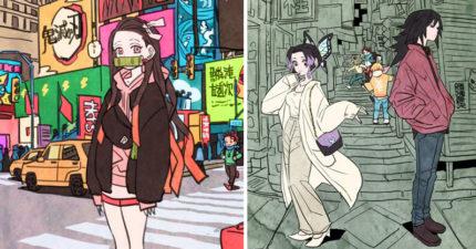 如果《鬼滅之刃》「穿越到現代」超萌插畫 「炭治郎」變超帥高中生跟妹妹逛街!