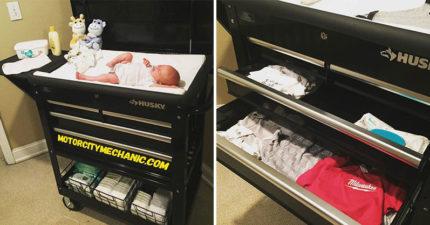 超強奶爸自製「推車式尿布檯」結合櫃子 超猛「收納大空間」讓爸媽驚呆:跪求量產!