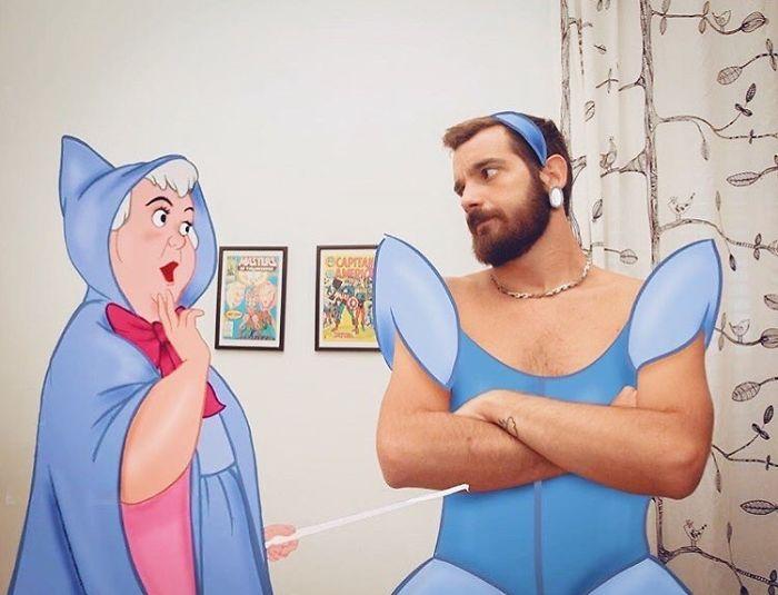猛男把自己「P進迪士尼」 灰姑娘「胸毛炸出」神仙教母頭超痛