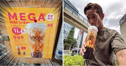 東京街頭驚見「巨無霸珍奶」竟有整整一公升 超浮誇「杯長26公分」嚇壞全台網友