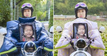 日本人以為「中國人捧遺照騎車」嚇壞 仔細看才知:是防寒雨衣