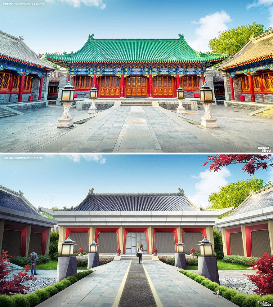 設計師合成「翻修前VS翻修後」的傳統建築對比照 四合院變「科技大宅」網友卻不買單!