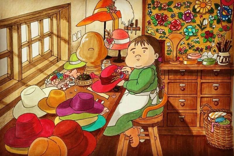 日本畫家把「宮崎駿角色胖胖化」經典場景全還原 無臉男嘴邊肉擠出披風太可愛❤