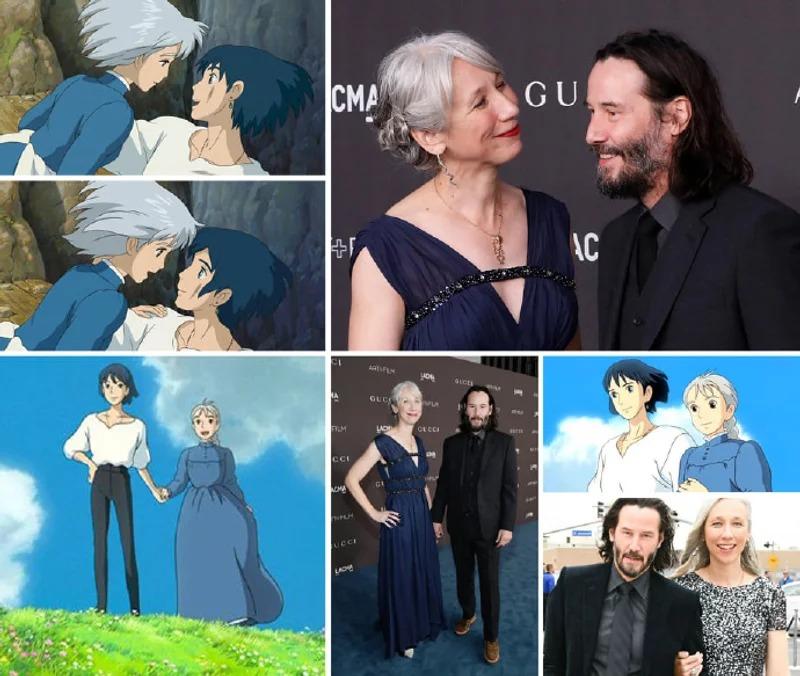 動畫愛情真人版!基努李維和女友神撞《霍爾的移動城堡》畫面 連超浪漫對視都一樣❤
