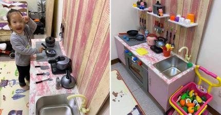 狂爸疼女兒到極限!用電視櫃手工打造「迷你廚房」讓她玩家家酒