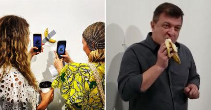 影/超奇葩藝術「膠帶黏香蕉」以365萬出售 下一秒「被他當場吃掉」觀眾傻眼!