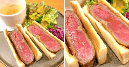 浮誇系「厚切牛排三明治」引瘋搶 整塊牛肉咬下去「肉汁大爆發」超罪惡!