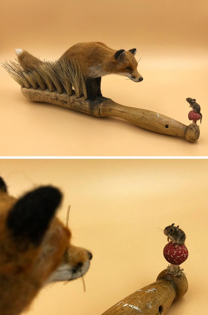 他專撿「舊刷子」靠巧手改造成「童話故事畫面」 小豬跟蝴蝶互動太溫馨!