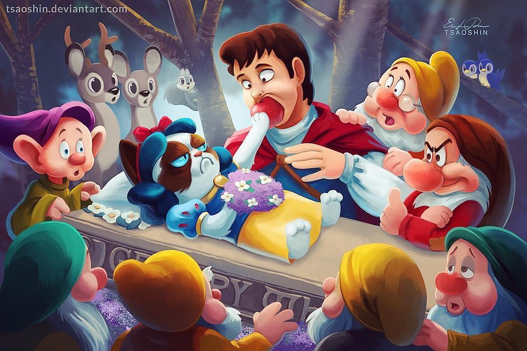 他畫出「迪士尼經典畫面」把臉全部換成「臭跩貓」 厭世表情Q到不科學❤