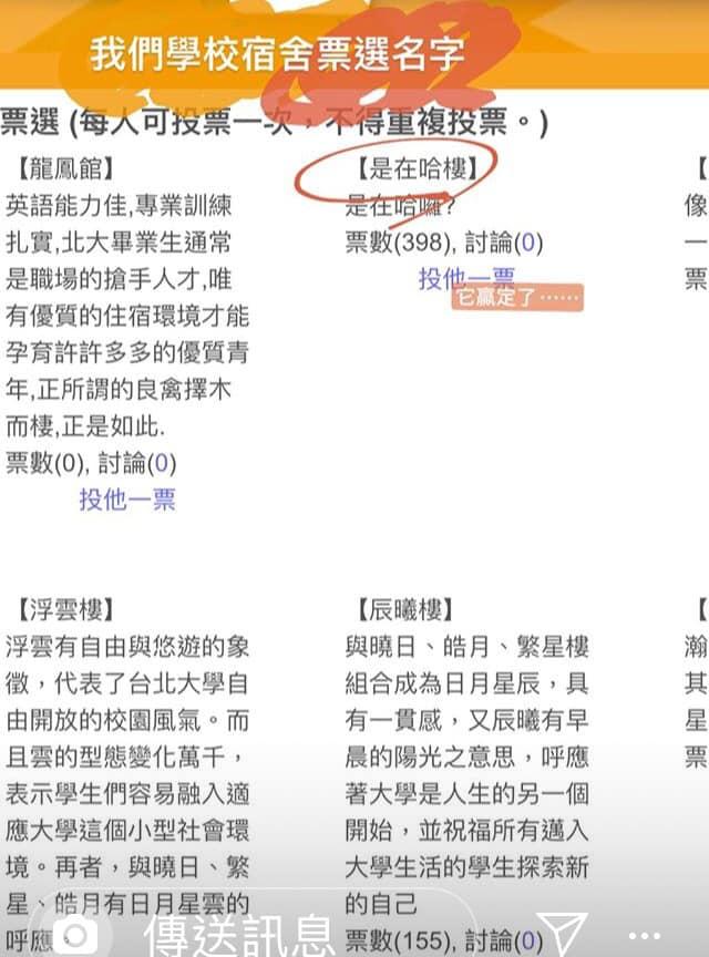北大舉辦宿舍命名活動 網路爆紅語「是在哈樓」超高票壓制!