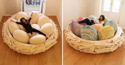 設計師做出「巨型鳥巢床」每顆蛋傾斜角度都算過 還可以客製喜歡的顏色!