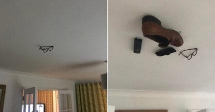 調皮男將「老爸的家當」黏在天花板 過4天才因為「電視遙控器」被揭穿!