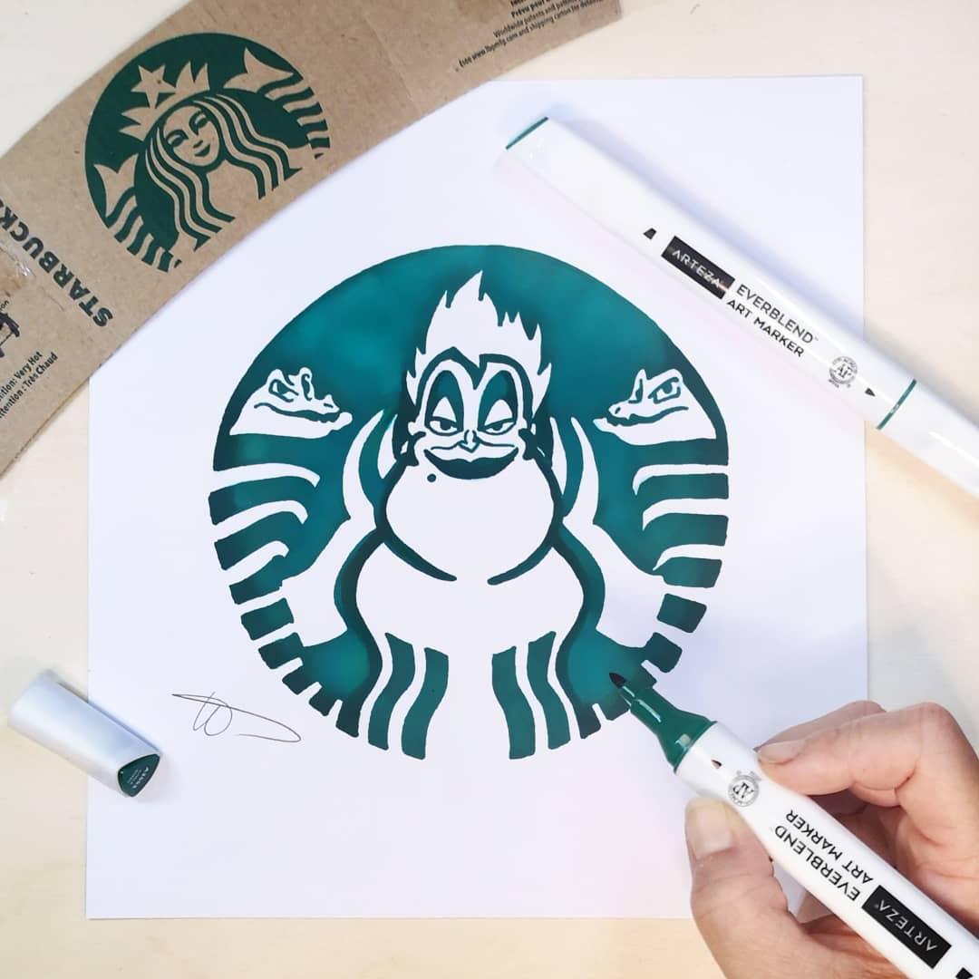 藝術家把「星巴克Logo→動漫人物」 神還原《阿拉丁》神燈精靈!