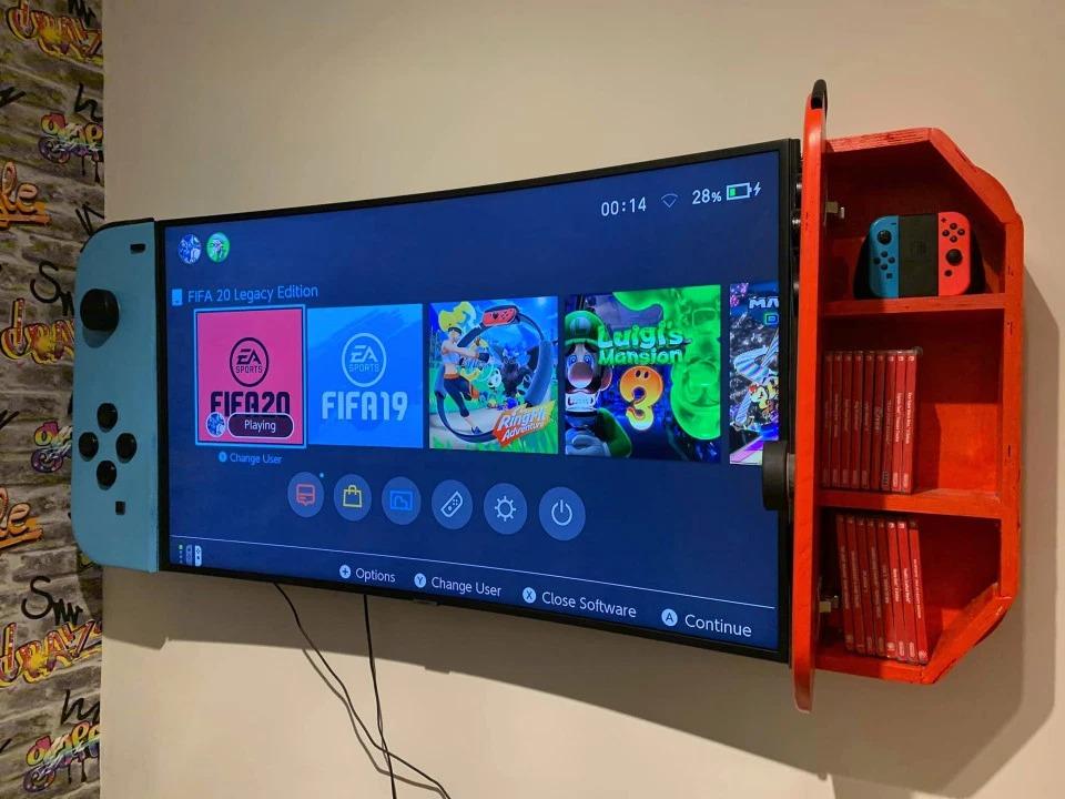 為了寵兒子…暖爸花一天半把「電視螢幕→巨型Switch」 手把打開還有驚喜!