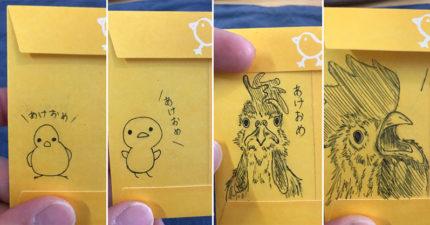日本媽每年「手繪生肖紅包」給小孩 長大後「迷你豬→長毛豪豬」畫風突變太爆笑
